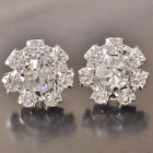 Jewelry - 😍PRICE SLASHED😍 White GF Crystal Flower Studs